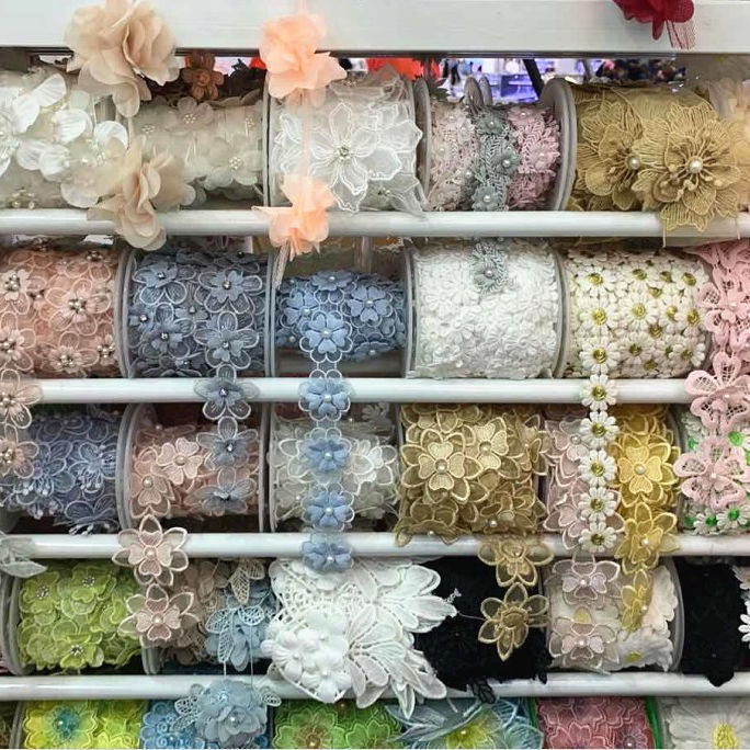 2021 latest embroidery 3D flower bead sequin polyester trim multi colors lace