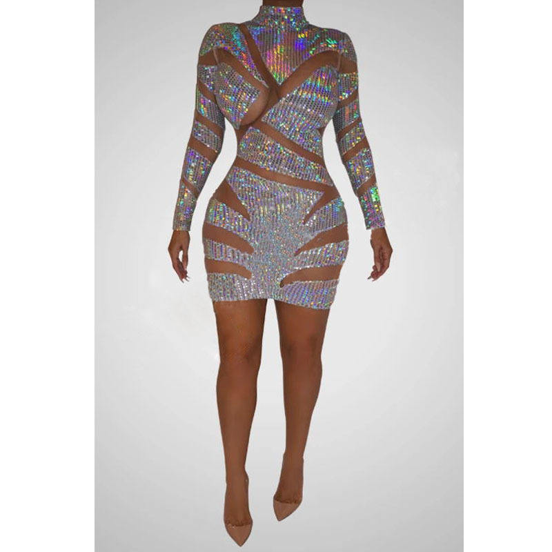 Sew On Rhinestone Bodysuit Mesh Dressed Transparent Cover Up Sexy Club Dresses Apparel Ropa Mujer