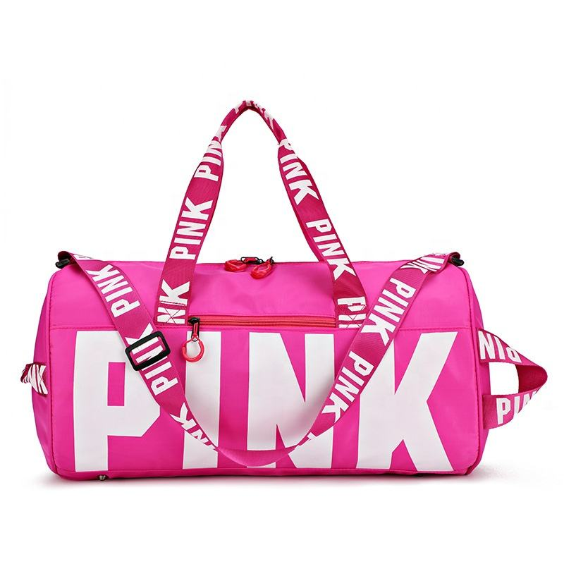 2019 Trendy Custom Logo Outdoor Fashion Ladies Unisex Shoulder Tote Pink Sport Travel Duffel Bag