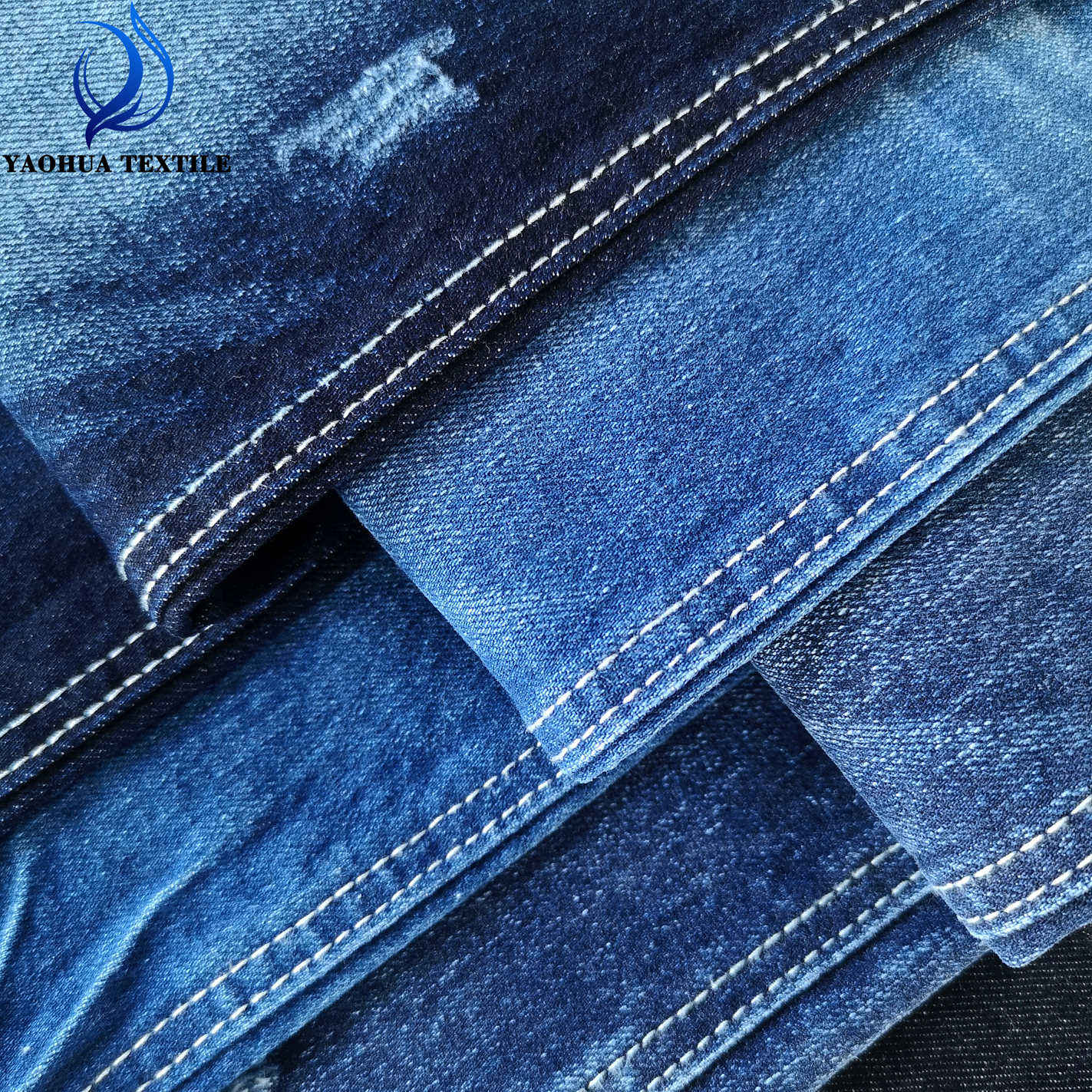2046 Organic cotton lycra China product yarn dyed good stretch jeans denim fabric for lady and man