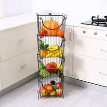 Household stackable metal wire food / fruit / vegetable baskets storage basket