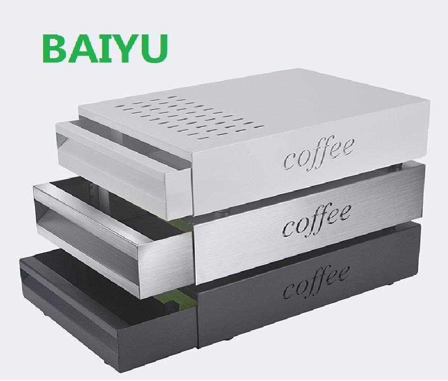 Stainless steel Espresso coffee knock box with drawer with color coating Metal dump knock box customized