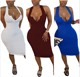 European and American fashion women's Solid V-neck Tight Sexy Dress