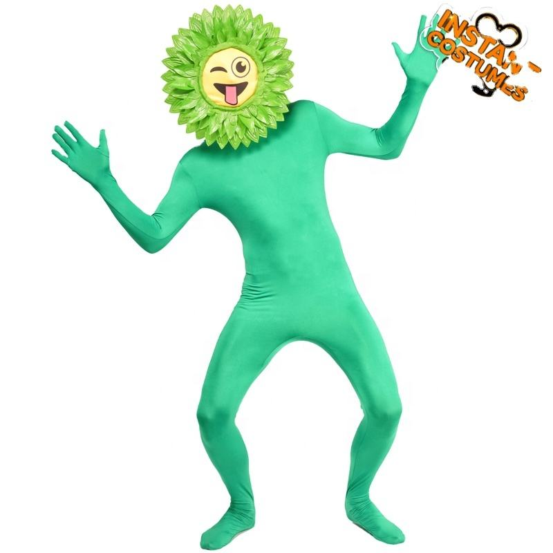 Carnival Party Costumes Sunflower for adult Role-play Funny green flower unisex Sunflower jumpsuit