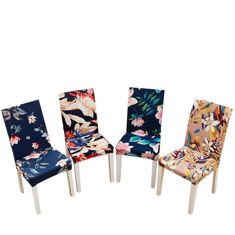 Dining chair cover integrated elastic digital printed chair cover