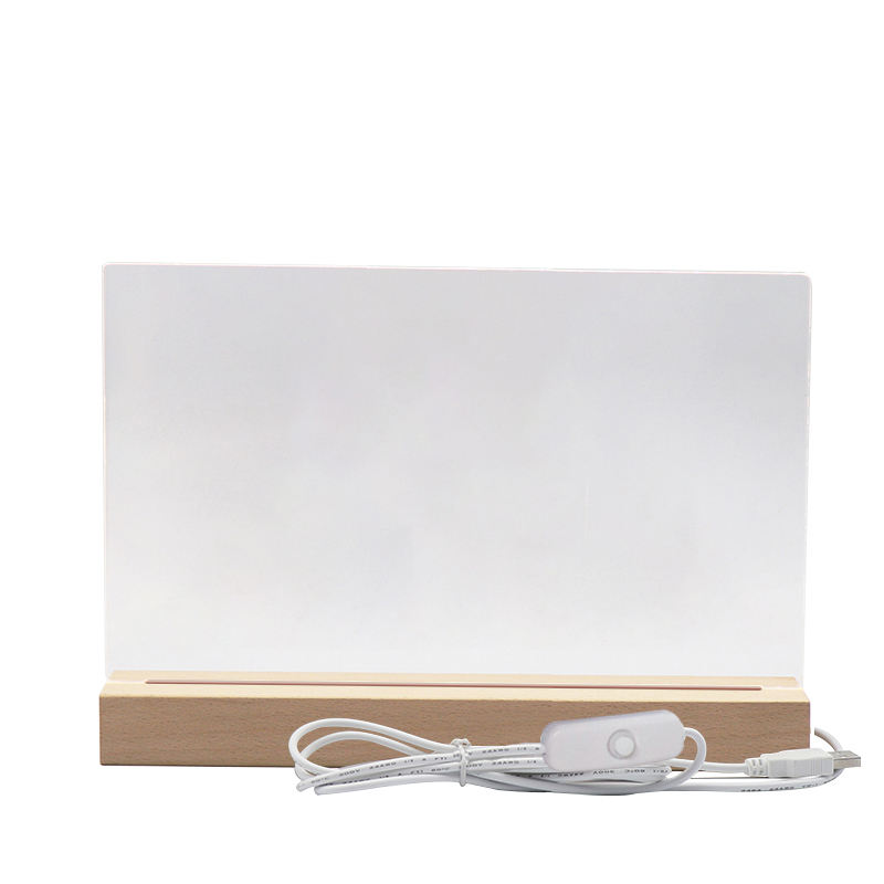 2021 Australia Hot Selling Customized DIY Oversized Rectangle Original Wooden Base for Blank Acrylic Plate LED Night Light