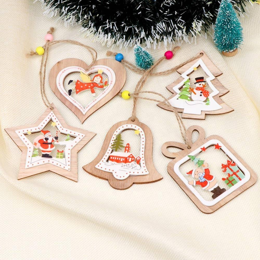 Ourwarm 5 pcs Christmas Decoration Wooden Hollow Out Christmas Embellishments