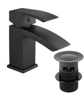 No.B009 Brass Plating Deck Mounted Waterfall Bathroom Mono Basin Taps Waterfall Black Basin Faucet