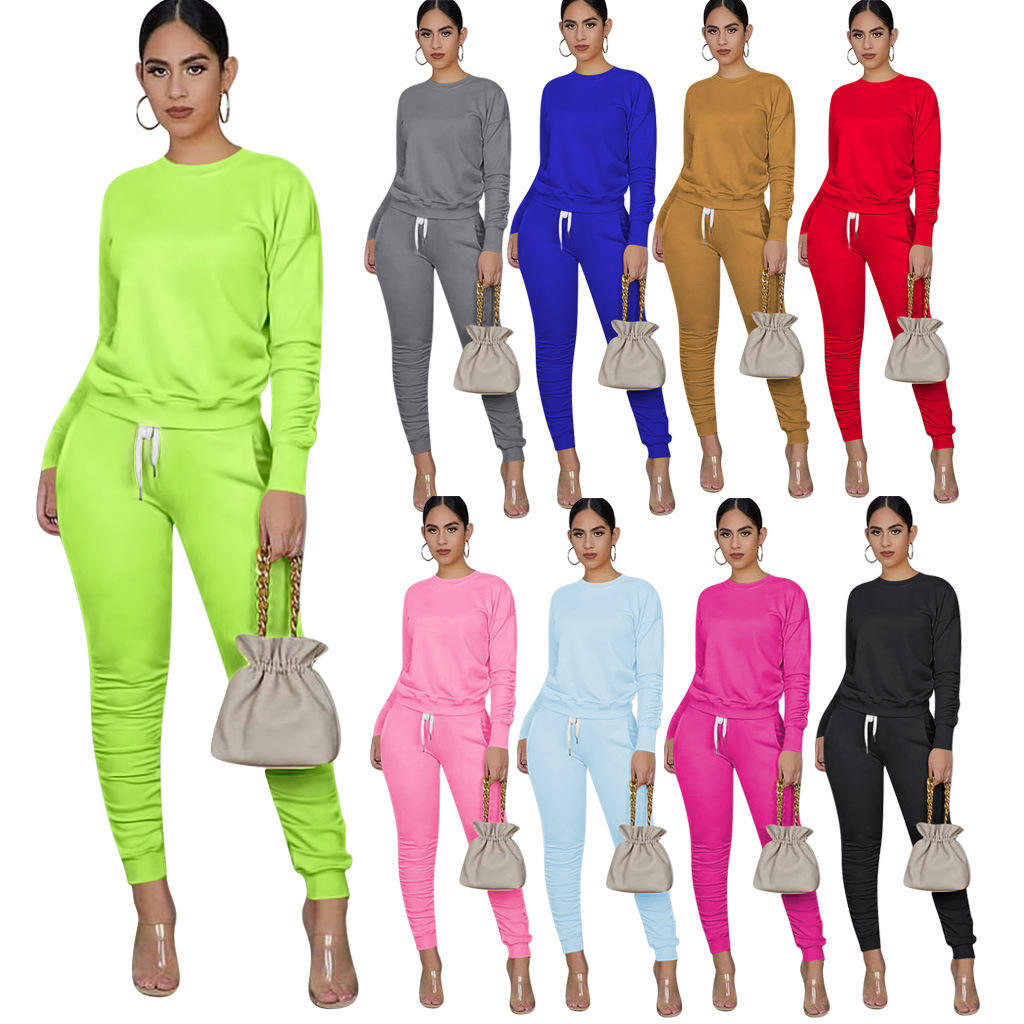 MXN 2020 Autumn new fashion women outfit clothing long sleeve hoodie sweatsuit jogging suit two pieces pants set