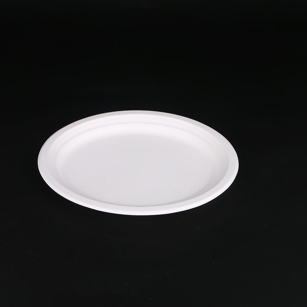 6 inch round disposable tableware sugarcane bagasse pulp paper party plate compostable biodegradable plates