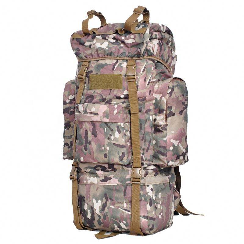 Metal Internal Frame 65L Hiking and Camping Durable Nylon Ripstop Sports Mountain Used Tactical Military Backpack