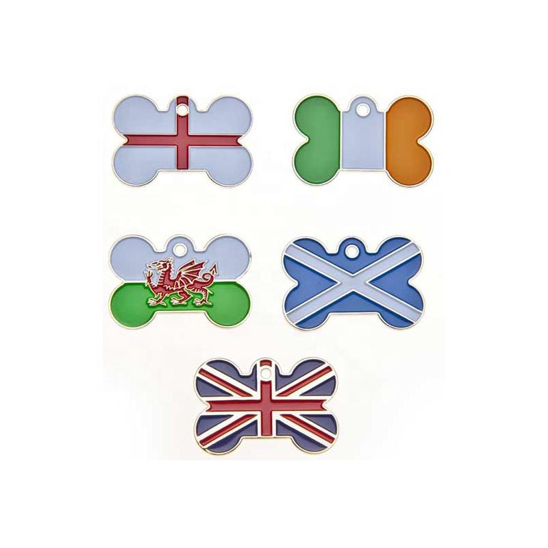 Promotionele Custom Made UK Land Vlag Pet Dog ID Tag
