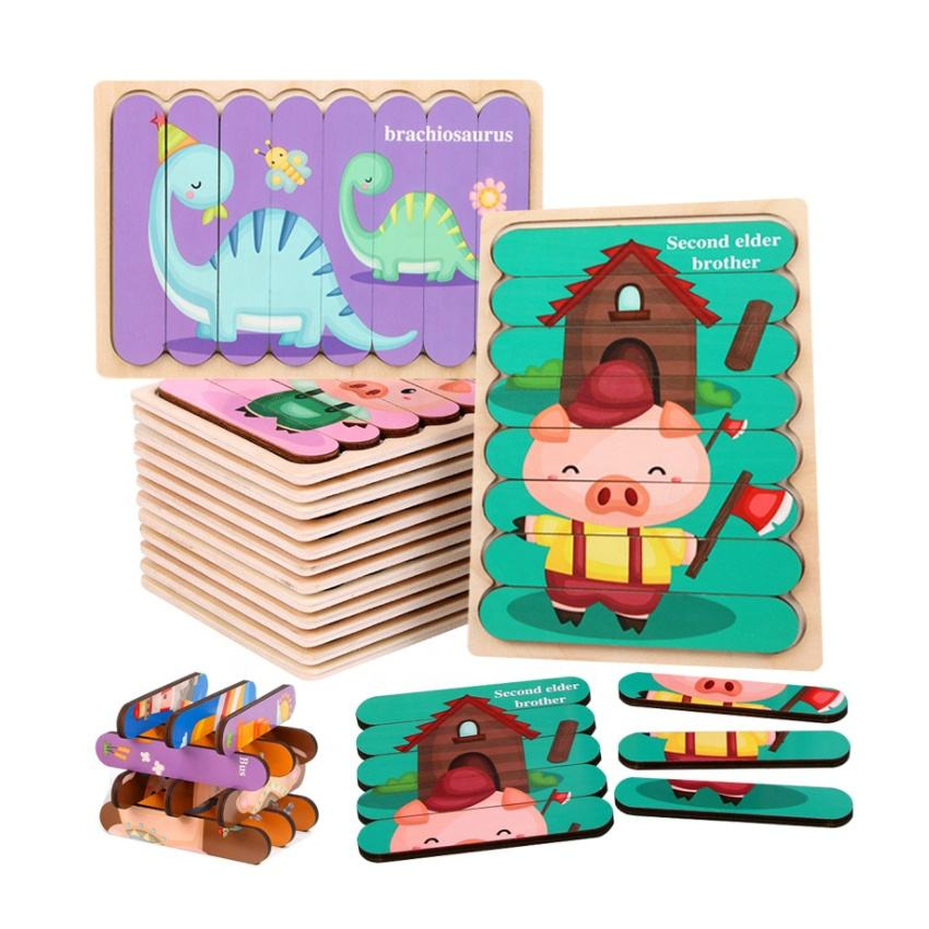 2020 new early educational kids toy wooden pattern cartoon vehicle animal double-sided learning bar puzzle for toddlers