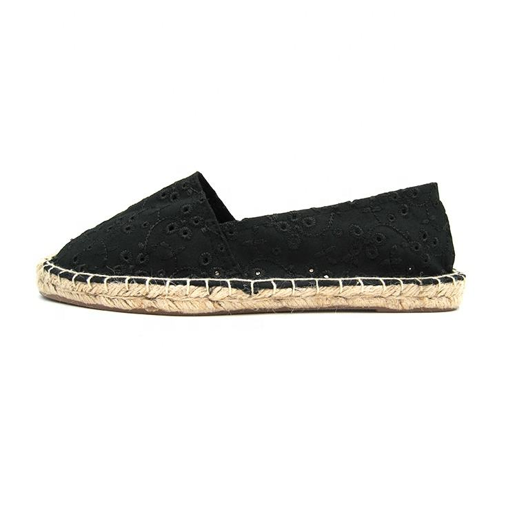 Factory direct supply flat slip on espadrilles for women in china with hemp rope jute sole