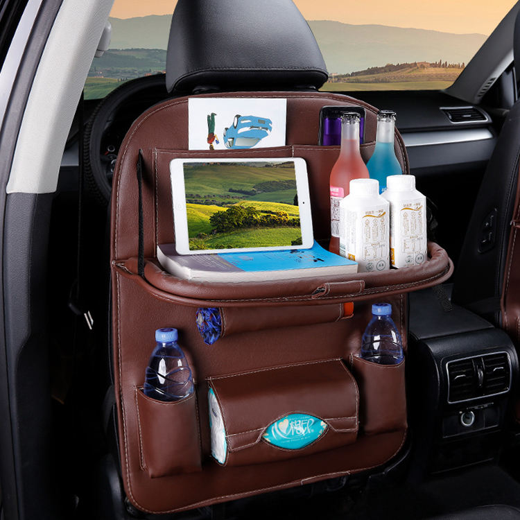 OEM Custom Premium PU Leather Foldable Car Back Seat Organizer with Tray Table