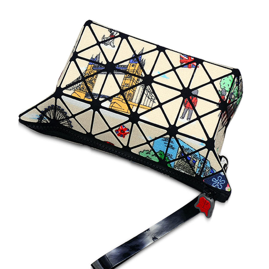 printed foldable geometric cosmetic bag make up case