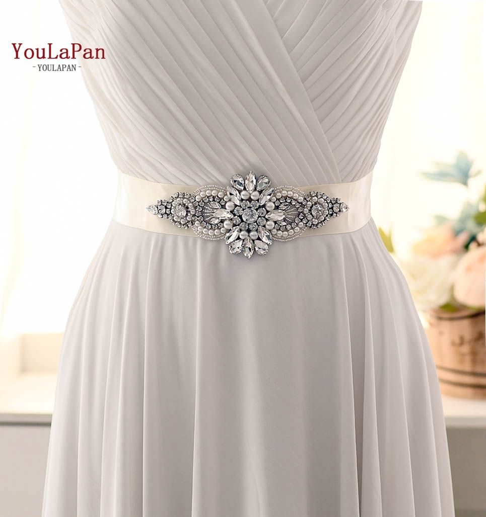 YouLaPan S05B Hot Sale Rhinestone Diamond Applique Accessories Wedding Belt for Bridal Dress