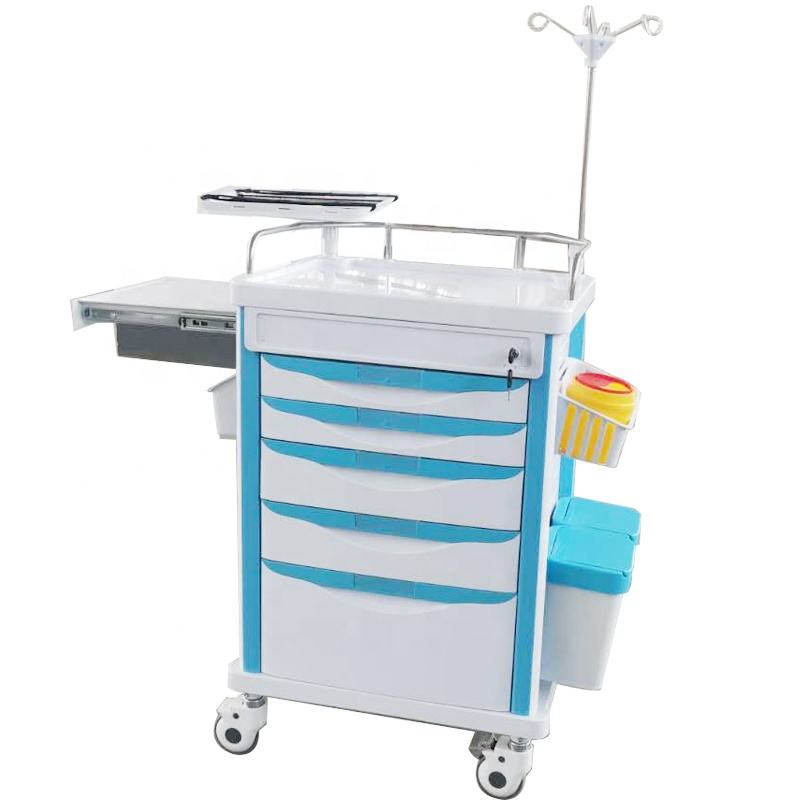 Hospital Emergency Cart Medical ABS Emergency Trolley Cheap Hospital Trolley Crash Cart Price