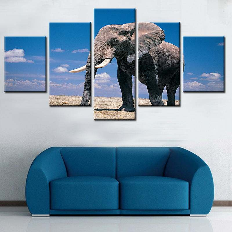 Art Wall Picture Elephant Pop Wholesale Rustic Home Decor Modern Decoration 5 Panel Canvas Oil Painting