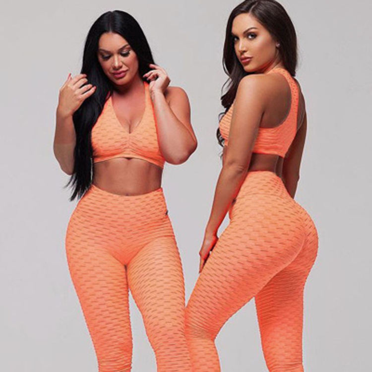 Wholesale high waisted workout jacquard yoga leggings anti cellulite sport tights woman leggings