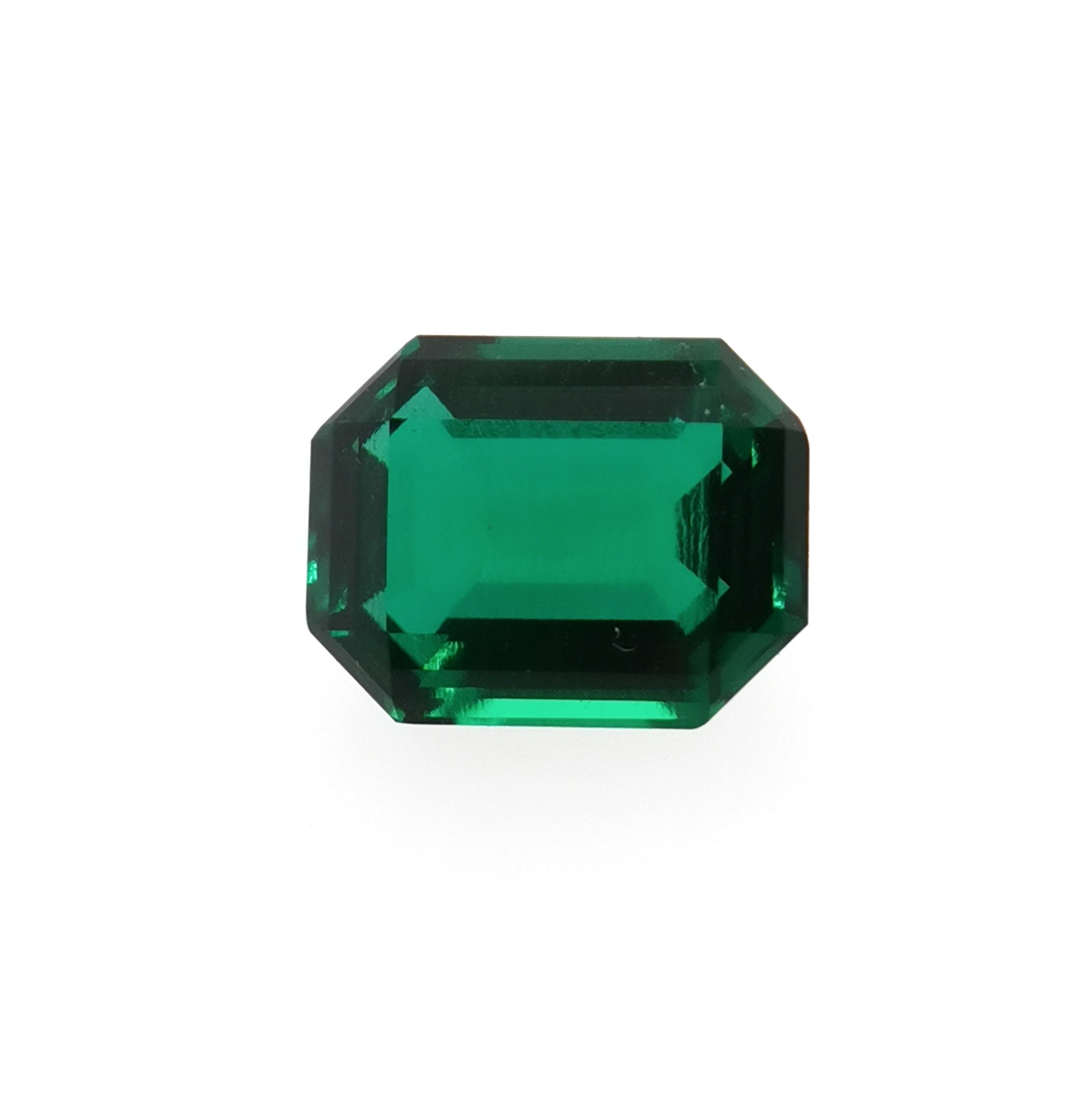Synthetic emerald cut lab created emerald stone hydrothermal emerald