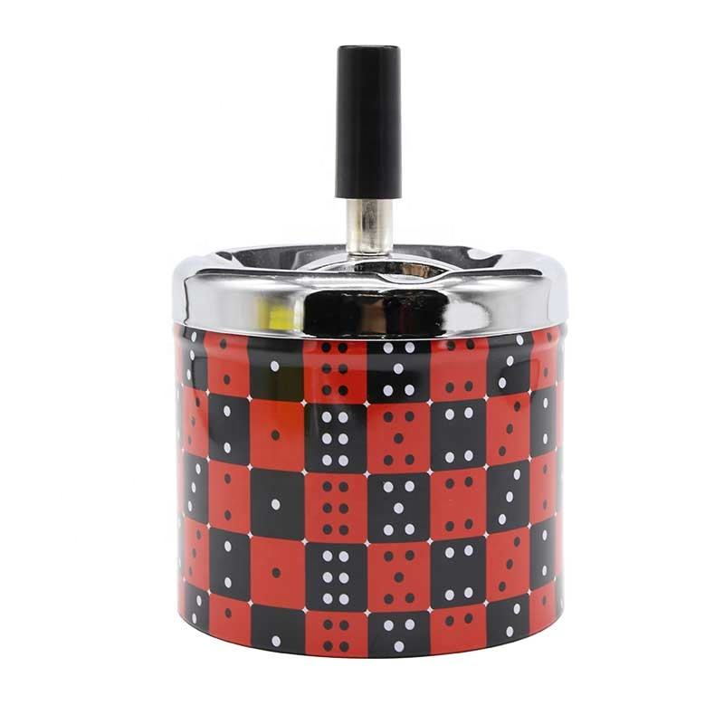 windproof round push down lid cover automatic tin metak cigarette ashtray with dice design smokeless rotatable metal ashtray