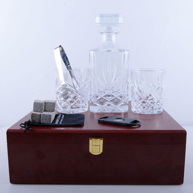 wooden box Square Whisky Glass Decanter set