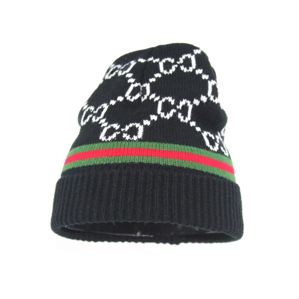 2021 New European and American double G letter big brand knitted hat striped wild winter woolen hat