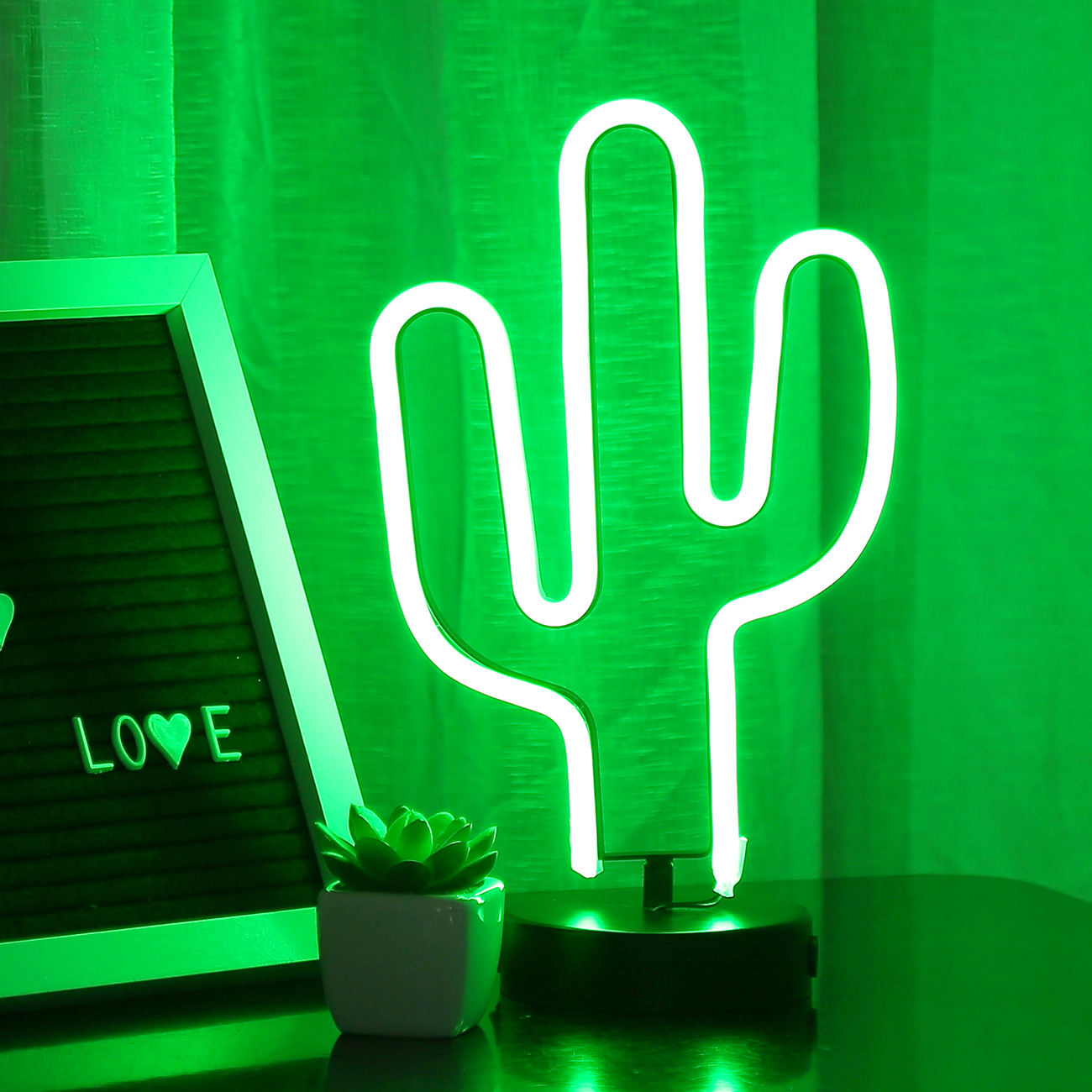 Bolylight Chinese Manufacturer Custom Cactus Table Stand Led Sign Neon Night Lights for Bedroom