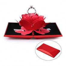 3D Rose Wedding Ring Holder Jewelry Gift Case Bearer Box For Surprise Marriage Proposal