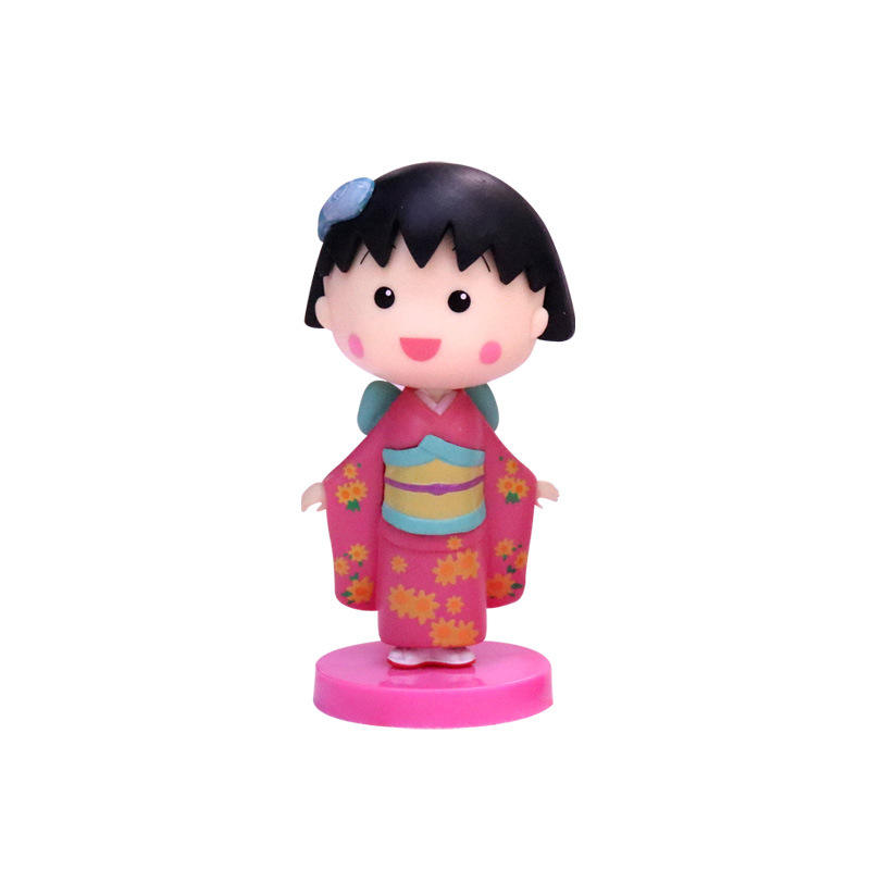 Japanese Cartoon Anime PVC Figure A Cute Girl With Short Hair In A Kimono Action Figure