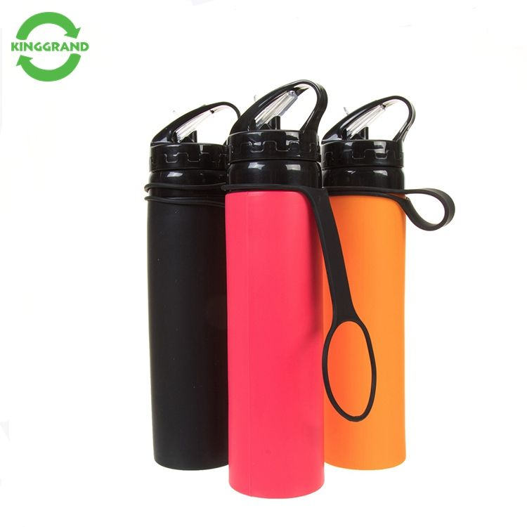 wholesale custom bpa free foldable sport drink collapsible Silicone water bottles with custom logo