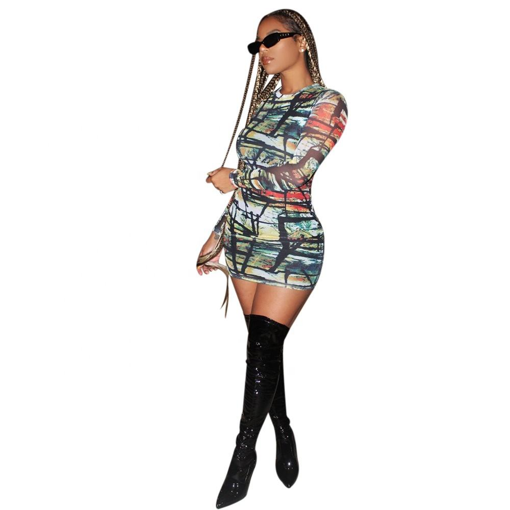 In stock sexy printed round neck slim fit hip nightclub fashion bodycon dresses for women