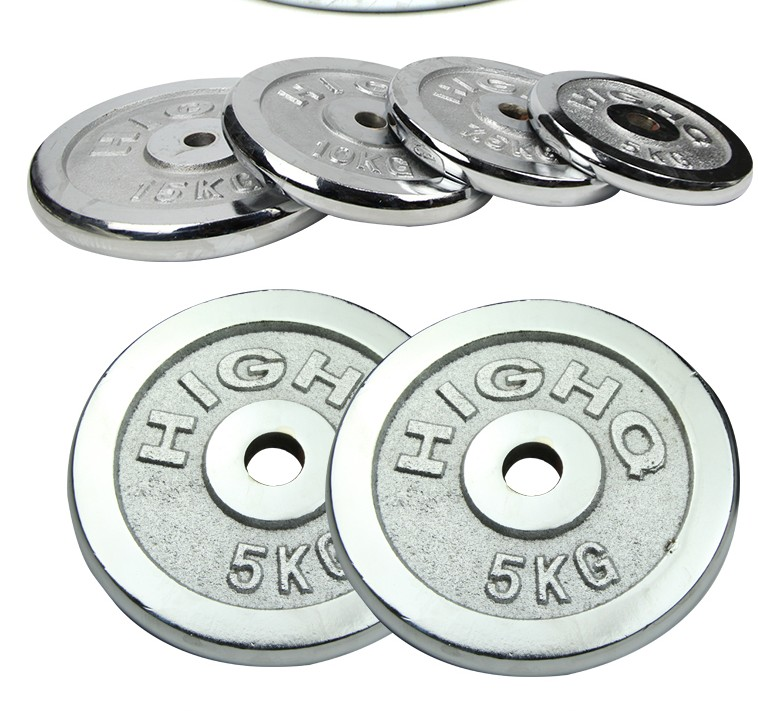 Cheap gym equipment fitness silver chrome coated cast iron weight plate barbell dumbbell weight plate