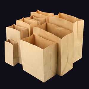 Custom Takeaway Food Packaging Flat Square Bottom Grease Proof Brown Kraft Paper Bags With No Handle