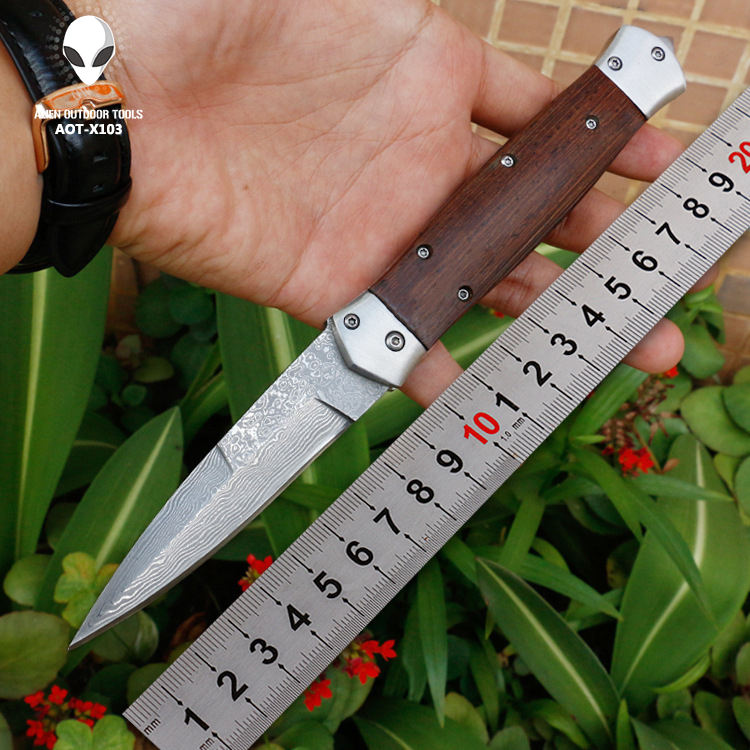Top Quality Wooden Handle Folding Pocket Damascus Steel Hunting Knife