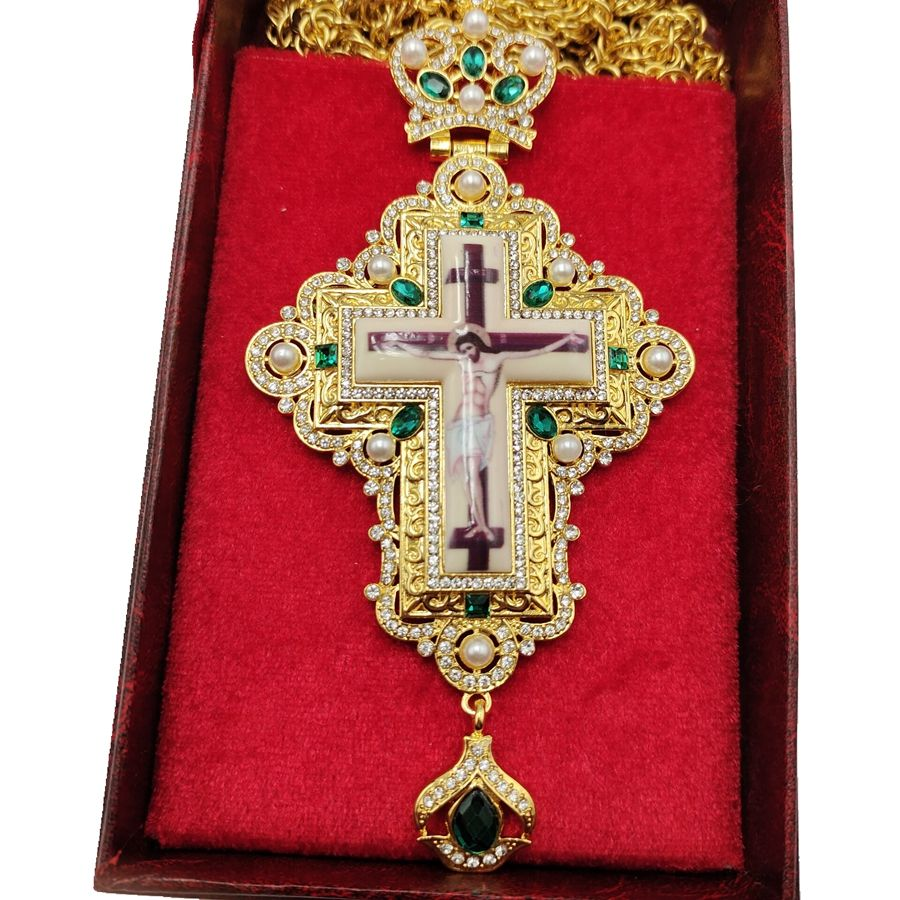 Best Selling Russian Gold Plated Orthodox Accessories Ukraine Church Pectoral Cross with Customized Stones