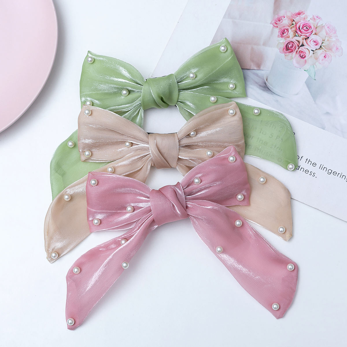 S-KING Boutique Big <span class=keywords><strong>Organza</strong></span> Perle Langes Band Schmetterling Bogen Haars pangen Phantasie Nette Haarnadel Für Frauen Mädchen Haarschmuck Geschenk
