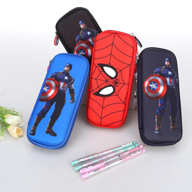 Spider-Man pen bag American captain stationery bag hard shell large capacity boys pupils pencil case