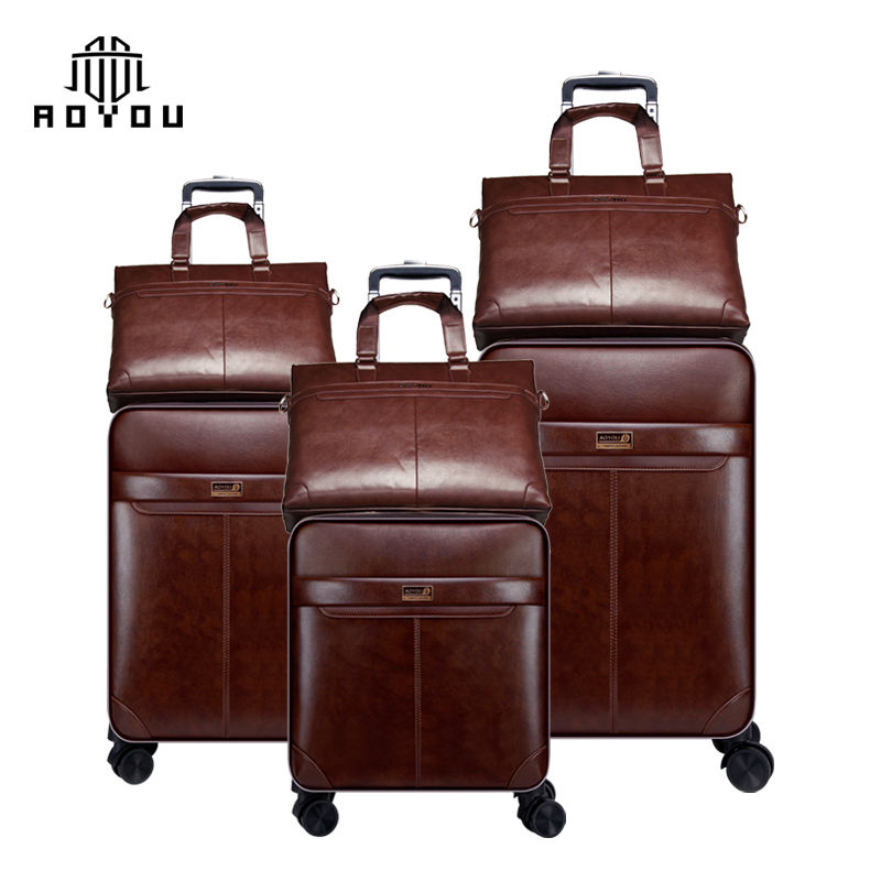 Hot-selling 3pcs 16/20/24 inch PU leather suitcase business luggage set with TSA lock and hand bag