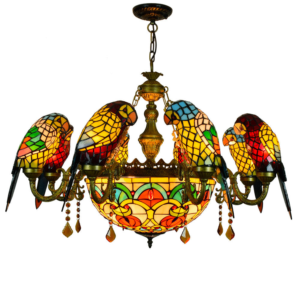 Tiffany Style Flower Stained Glass Hanging Lamp Luxury Vintage Bird Decor Pendant Lamps Living Room Tifany Warm Light Chandelier