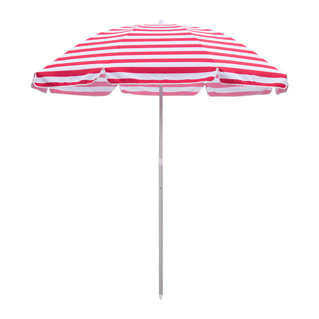 Original Factory Customized Titling Sun Striped Red And White Beach Parasois Umbrella For Outdoor Activities