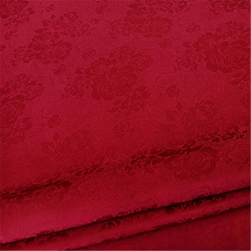 Rose Floral Style 100% Silk Crepe Jacquard Fabric for Wedding Clothes in Red Color