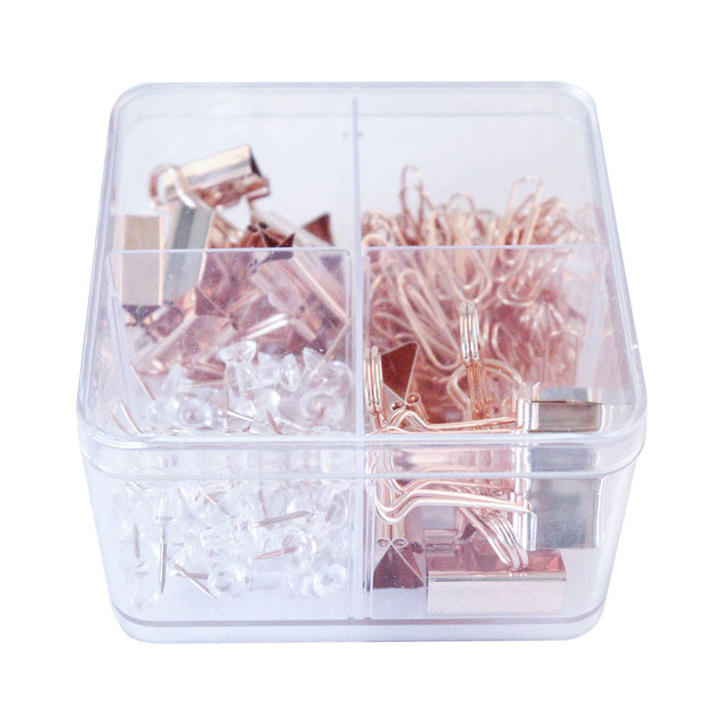 Daily storage tools for office rose gold 19/25mm Binder clips Paperclips Pushpins