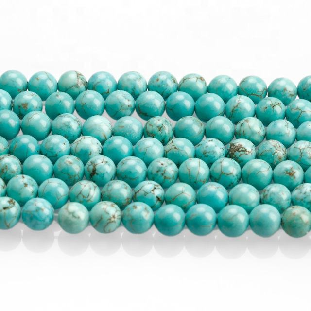 Wholesale 4/6/8/10/12mm Polished Turquoise Beads Natural Round Loose Stone Beads For Jewelry Making