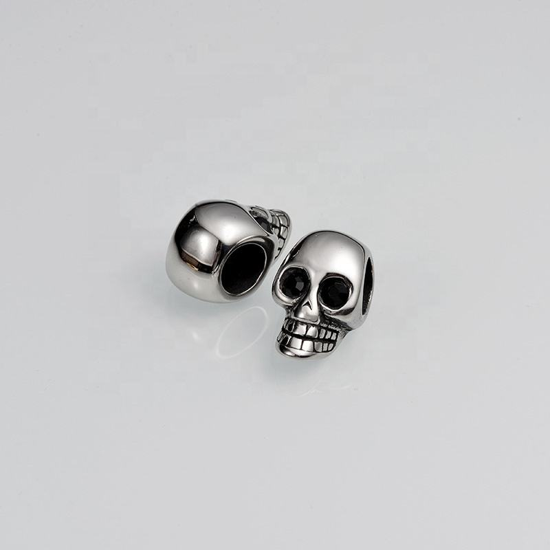 Large Hole Custom Logo Stainless Steel Charm Bead Metal Skull Head Beads For Jewelry Making