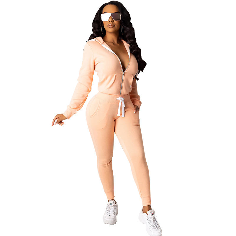 Zip Up Hoodie And Pants Tracksuit Women Spring Casual Streetwear Ladies Sports Suit Two Piece Set