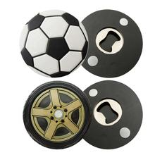 Sports Souvenir round rectangle soccer ball basketball custom bottle opener fridge magnet