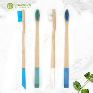 Huaching T shape handle custom logo bamboo toothbrush with soft sharpened bristles for asian clinic hotels Amazon seller