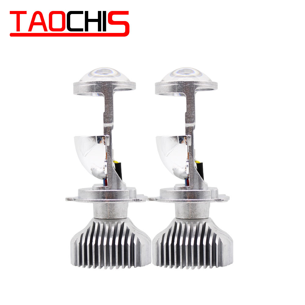 TAOCHIS car light 1.5 inch Mini H4 LED headlights projector lens high low beam clear head lamps 12V 5500k no astigmatic problem